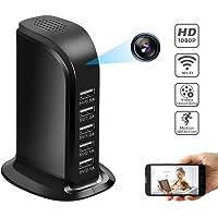 WiFi Hidden Camera Charger, YAOAWE Mini Spy Camera USB Camera Adapter 1080P with 5 Port Plug Desktop Charging Station Charger Camera, Home Surveillance Camera,Full HD Nanny Cam