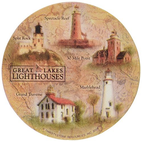 Thirstystone Stoneware Great Lakes Lighthouses Coaster, Multicolor