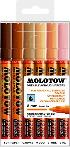 Molotow ONE4ALL Acrylic Paint Marker Character 6-Color Set, 2mm (200.232)
