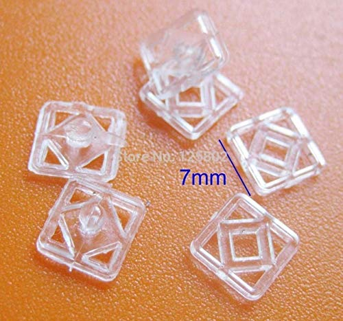 Pukido 100 Sets Square Shape snap Buttons 7mm Baby Clothes Button Sewing Accessories P0066 - (Color: Clear Color, Size: Side 7mm) (7mm Snap)
