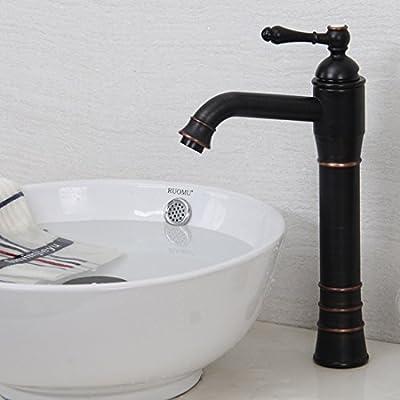 Deck Mount Contemporary Retro Black Oil Rubbed Bronze Finish One Hole Single Handle Vessel Bathroom Sink Faucets Single Hole Lavatory Plumbing Fixture High Straight Body Curve Spout Faucets Ceramic Valve