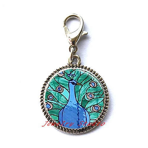 Charming fashion Zipper Pull,Peacock Zipper Pull Bird Jewelry Stained Glass Style Blue and Green Art Glass Dome Charm Zipper Pull Zipper Pull,Best friend Zipper Pull,Simple Zipper Pull-HZ00177