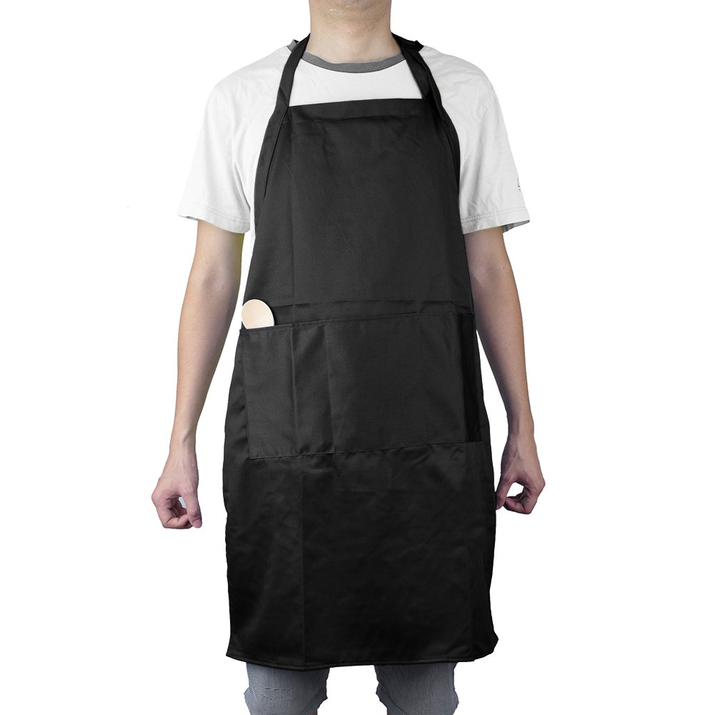 Opromo Heavyweight Unisex Adjustable Polyester/Cotton Bib Apron with Three Pockets, 25''W x 34.5''H BLACK-24PACK by Opromo