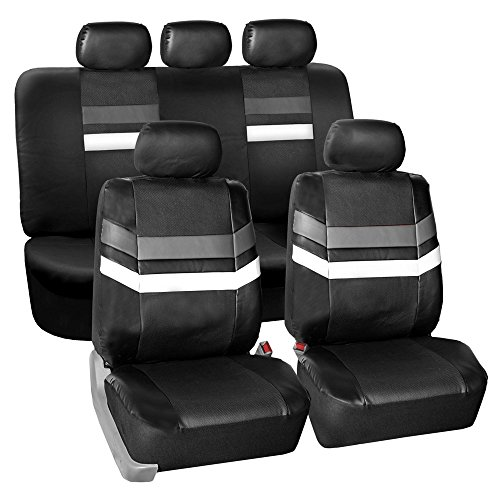 - FH Group PU006115 Varsity Spirit PU Leather Seat Covers, Airbag & Split Ready, Gray/Black Color