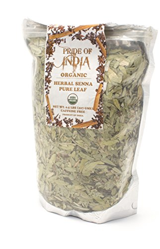 Pride Of India - Organic Senna Herbal Tea Leaf Whole, 3.53 oz (100gm)