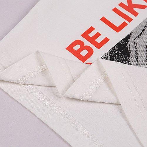 Blanc Crop 100 Raglan Tops Femmes Coton Gilet White Imprimé T Manches Caractère shirt q16d7ndx0