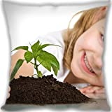 Lidoy Cute Baby Girl Plant Custom Zippered Leaning Cushion 35x35cm(14x14inch) Mini Size 300g(0.66lb) (Twin sides Print)