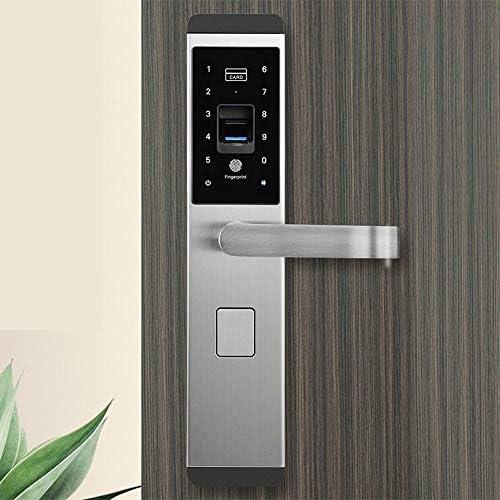 指紋南京錠 指紋スマートドアロックデジタルパスワードタッチキーレスデッドボルトロック (色 : Silver, Size : One size)