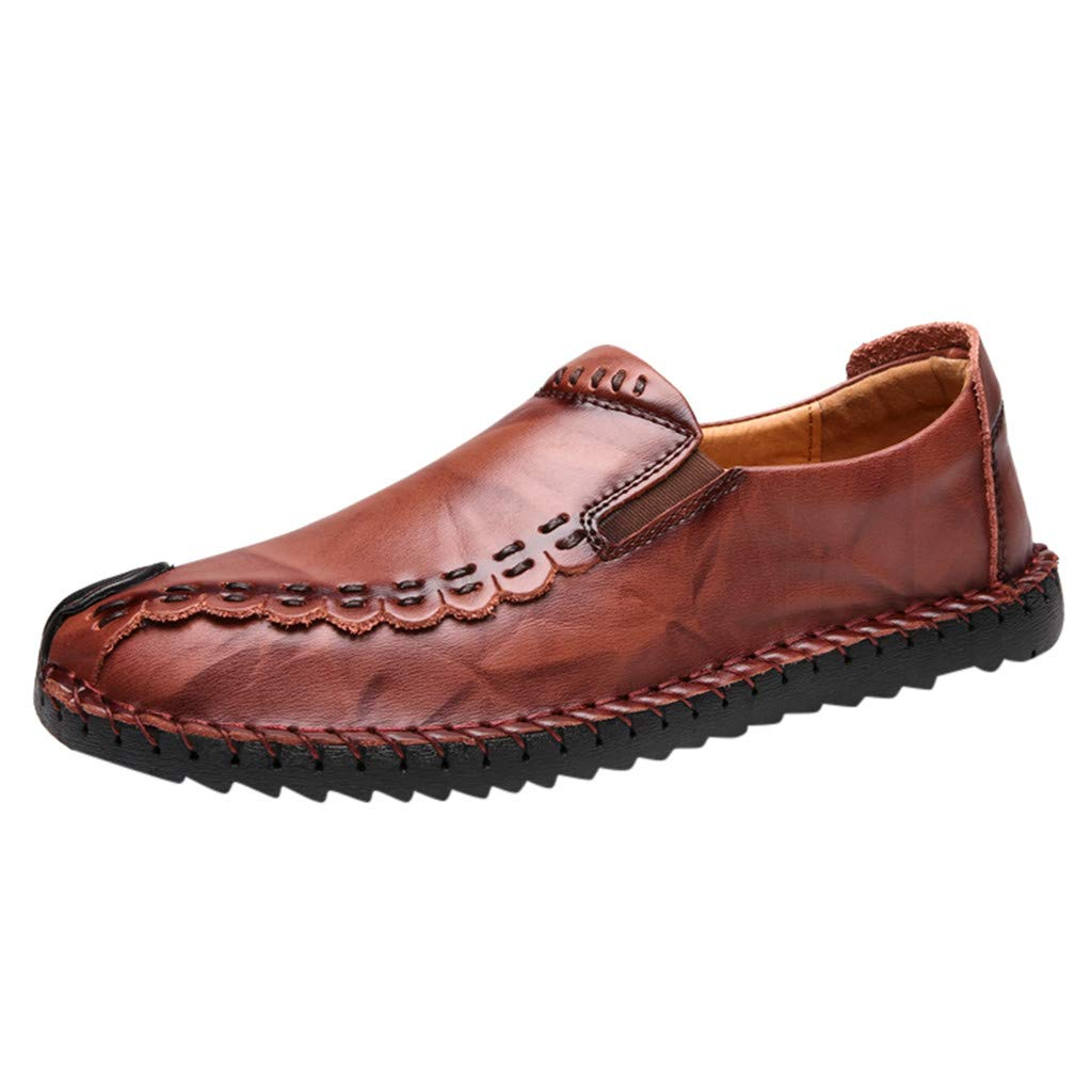 YKARITIANNA Men Solid Color Round Toe Sewing Flat Heel Shallow Mouth Leather Shoes Brown