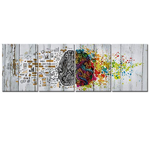 Visual Art Decor 4 Pieces Retro Left and Right Brain Advantage Canvas Poster Inspiration Motivation Education Science Canvas Prints Wall Art Gallery Wraped Modern Office Wall Decor Ready to Hang