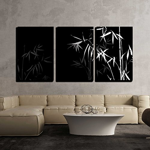 Wall26   3 Piece Canvas Wall Art   Vector   White Bamboo Branches Imprint  On Black