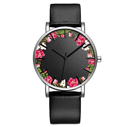 Fashion Luxury Butterfly Cactus Flowers Floral Print Leather Strap Quartz Men Women Girl Wristwatch, (Floral Print Leather)