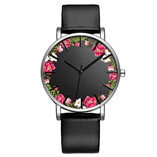 Flower Print Watch - Fashion Luxury Butterfly Cactus Flowers Floral Print Leather Strap Quartz Men Women Girl Wristwatch, Red