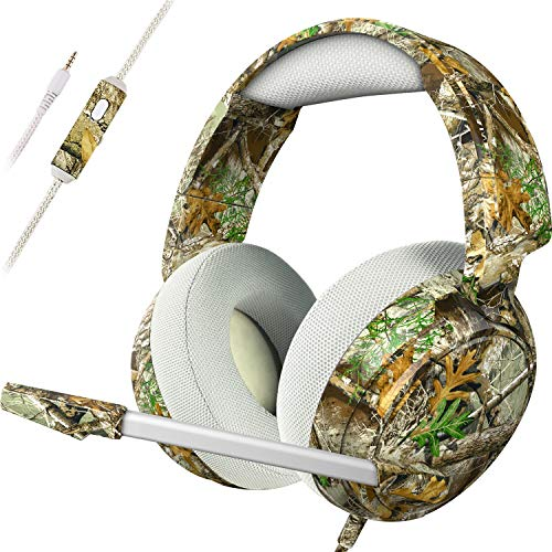 ECOOPRO Gaming Headset with Mic for PS4 Xbox One PC Nintendo Switch, 3.5mm Surround Stereo Game Headphones with Noise Cancelling Microphone, Pro 50mm Driver & Soft Memory Earmuffs [Realtree Camo]