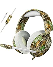 Realtree Stereo Gaming Headset for PS4 Xbox One PC, Over Ear Headphones with Noise Cancelling Mic, 50mm Stereo Driver & Bass Surround Perfect for Computer Video Game Music
