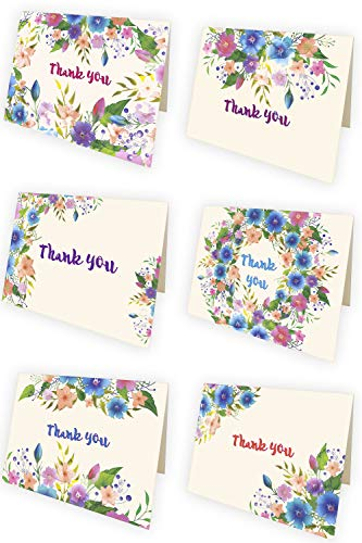 PETANI Thank You Cards Funeral, 48 Floral Thank You Notes, Kraft Envelopes Plastic Box, 6 Assorted Watercolor Thank You Cards for Christian Wedding, Bridal or Baby Shower, Business Greetings (Multi)]()