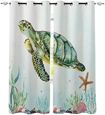 遮光カーテン 海洋 亀 珊瑚 海洋生物 木の板 ドレープカーテン おしゃれ 断熱 遮熱 防音 昼夜目隠し 遮像 デコレーション 洗濯可 取り付け簡単 135cmx160cmx2