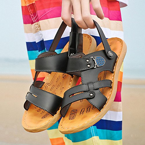 Beach Men da Summer Uomo Shoes Black LEDLFIE Sandali Casual Slippers UPfPS