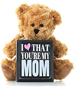 Mom Gifts Mother's Day Gift from Daughter Son or Kids for Birthday Christmas Thank You Gift - Teddy Bear and Mom Plaque Best Present for Mother in Law Step Mom or First Mothers Day for New Moms