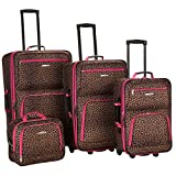 Rockland Luggage 4 Piece Luggage Set, Pink Leopard, Medium