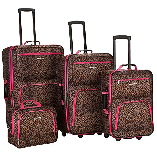 Rockland Luggage 4 Piece Luggage Set, Pink Leopard, Medium ()