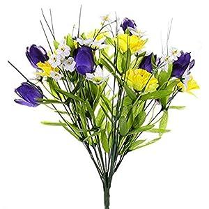 MARJON Flowers3 x Spring Mixed Flower Bush - Artificial Silk Bunch Yellow Purple White Daisy Daffodil Crocus 69