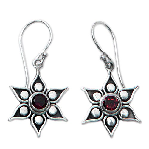 Sterling Silver Garnet Hanging Earrings - NOVICA .925 Sterling Silver Flower Dangle Earrings with Garnet Accents, Poinsettias'