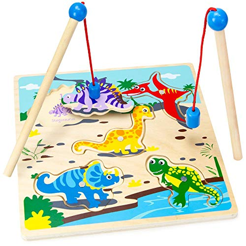 Imagination Generation Wooden Wonders Lift & Look Magnetic Dino Catcher Game with 2 Wands (5 pcs)