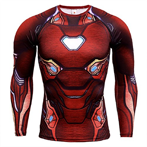 Superman Athletic Shirt - Cosfunmax Super Hero Compression Shirt Sports Quick Dry Long Sleeve Fitness Running Gym Shirt M
