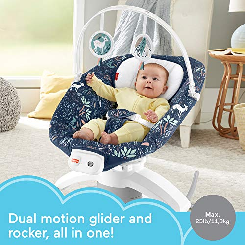 Dual Motion Soothing Seat with Removable Rocker Offers The Comfort Your Baby Loves In A Compact Size to Fit Your Space! Fisher-Price 2-In-1 Soothe N Play Glider Plus