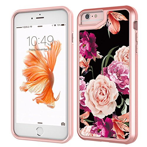 """MOREFINE iPhone 7 Case, iPhone 8 Case, Flower Series Shockproof Anti-Scratch Phone Cover Soft TPU Bumper with Acrylic Back and Hard PC Frame Protective Case for iPhone 7/8 4.7"""""""