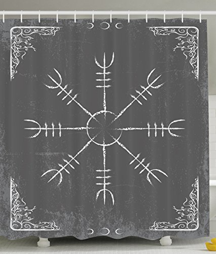 Ambesonne Alchemy Sign Symbol Alchemist Mystic Meditation Treatment Cure Health Eastern Science Spirit Zen Yoga Spa Decorations for Bathroom Gray and White Shower Curtain Home Decor by Ambesonne