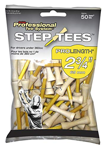 Pride Professional Tee System Two Piece Step Tee, 50 Count, 2-3/4 inch (Yellow)