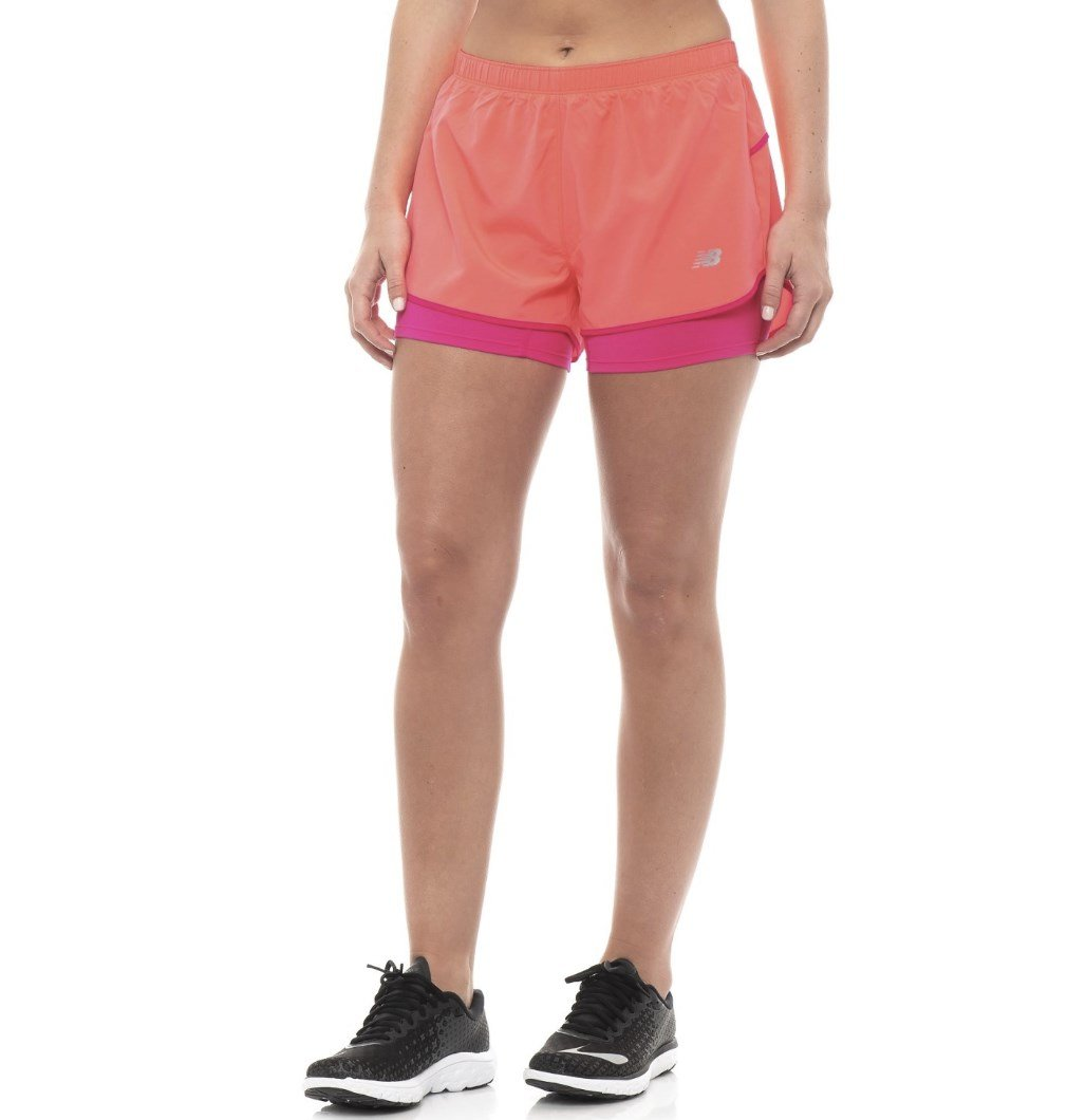 New Balance Womens 3'' 2-in-1 Woven Short, Guava, Large by New Balance