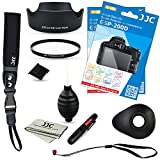 JJC Glass Screen Protector X2 + Lens Hood + 58mm UV Filter + Hot Shoe Cap + Wrist Strap + Rubber Eyecup + Lens Cap Keeper + Cleaning Tools for Canon EOS Rebel SL2 / 200D with EF-S 18-55mm STM Lens