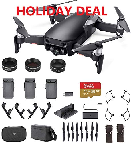 DJI Mavic Air Fly More Combo (Black) Sunny Bundle - 3 ND Filters, 3 Batteries, Extreme SD Card, Landing Gear …