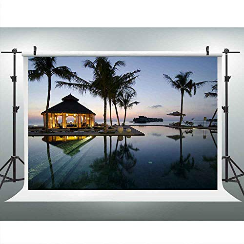 LUCKSTY 9x6ft Seaside Leisure Cabin Photography Backdrop Tropical Trees Sunset Glow Background Photo Booth Studio Props LUP401