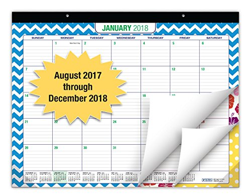 Desk Calendar 2018 - 22'x17' - (17 MONTHS, Runs from August 2017 through December 2018) (1 Pack)