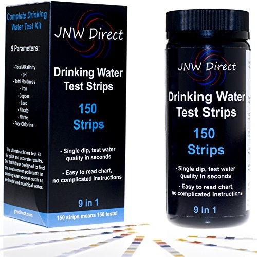 JNW Direct 9 in 1 Drinking Water Test Strips, Best Kit for Accurate Water Quality Testing at Home, 150 Strips MEGA PACK, Easy to Read & Instant Results (Walmart Cheap Ph)