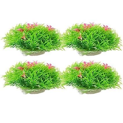 eDealMax plástico pecera acuario submarino realistas 4pcs ornamento planta de hierba Artificial bola