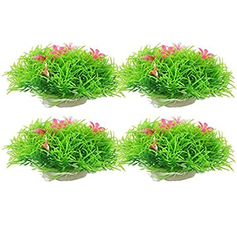 Amazon.com : eDealMax plástico pecera acuario submarino realistas 4pcs ornamento planta de hierba Artificial bola : Pet Supplies