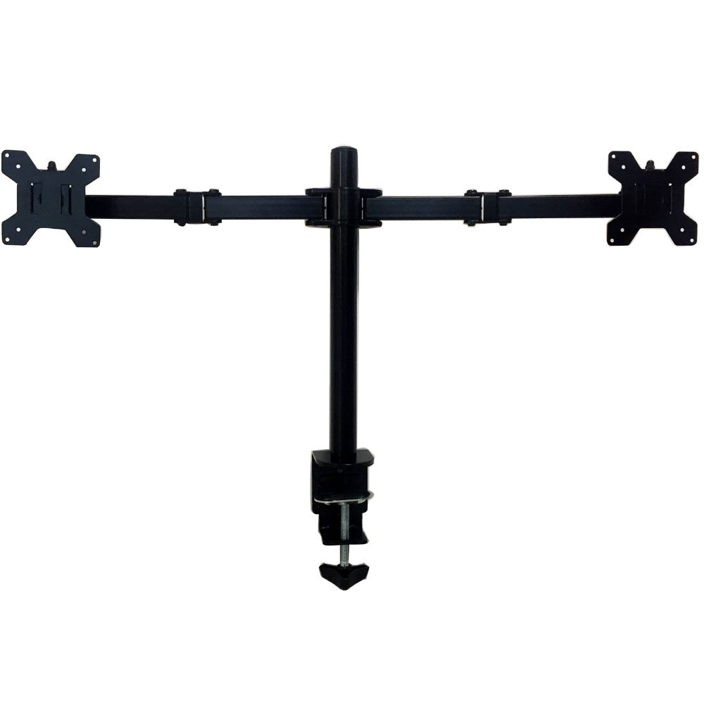 Dual Monitor Mount Desk Stand Fully Adjustable Fits Two Screens up to 27'', Full Motion, Tilt, Swivel, Rotate, 18 lbs Capacity, Clamp monitor Mount For L shaped Desk