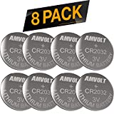 8 Pack AmVolt CR2032 Battery 220mAh 3 Volt Lithium Battery Coin Button Cell 2023 Expiry Date