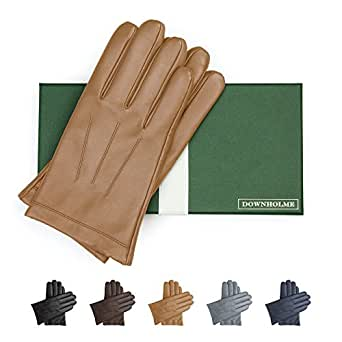 Downholme Leather Cashmere Lined Gloves for Men (Tan, M)