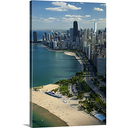 Aerial View of a City, Lake Michigan, Chicago, Cook County, Illinois, 2010