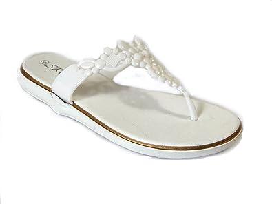 6f09ad66f1c1 Womens Ladies Girls Flower Metallic Toe Post Sandals Summer Beach Flip  Flops Shoes Size 3-