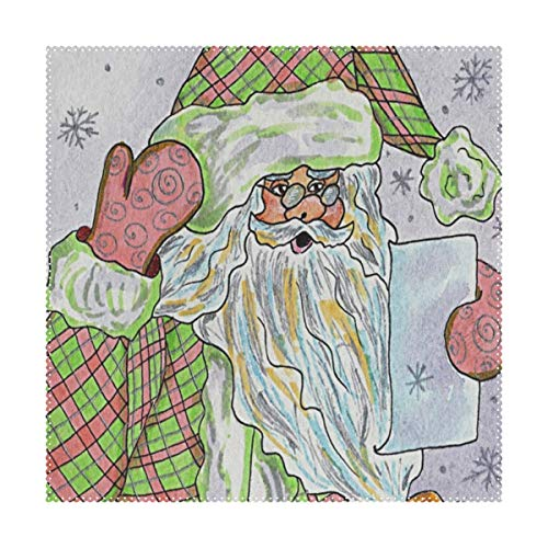 Placemats Santa Claus Dog Square Place Mats for Dining Washable Polyester Kitchen Kids Table Coffee Mats 1 piece -