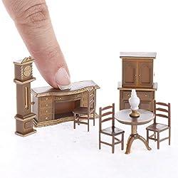 Aztec Imports, Inc. Dollhouse Miniature 1:48 Scale Dining Room/Office Set, Plastic