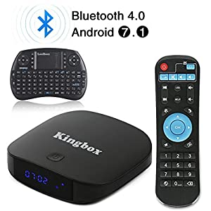 2018 Kingbox Android 7.1 TV Box with Free Wireless Keyboard, K1 Plus Android Box Support 4K (60Hz) Full HDMI / H.265 / Bluetooth 4.0 / 2.4GHz WiFi Android Smart TV Box (2G RAM / 8G ROM)