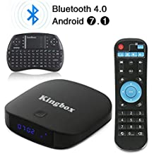 2018 Kingbox Android TV Box with Free Wireless Keyboard, K1 Plus Android 7.1 Box Support 4K (60Hz) Full HDMI / H.265 / Bluetooth 4.0 / 2.4GHz WiFi Android Smart TV Box (2G RAM / 8G ROM)